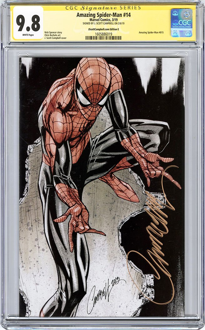 CGC 9.8 SS Amazing Spider-Man #14 cover E J. Scott Campbell