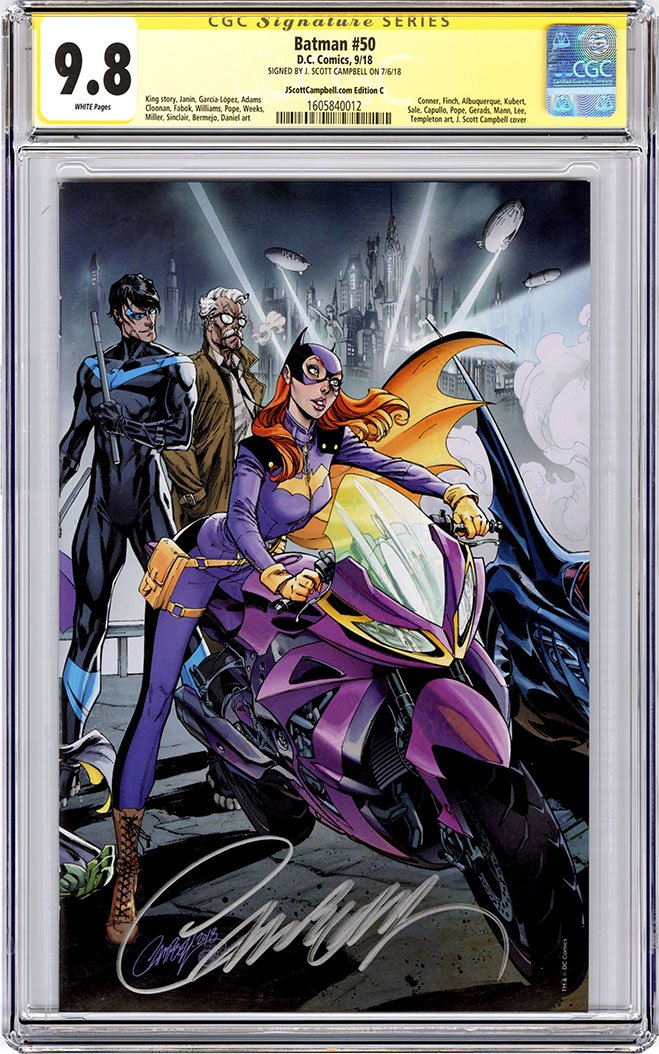 CGC 9.8 SS Batman #50 cover C J. Scott Campbell