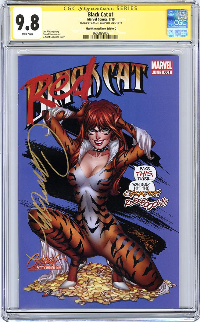 CGC 9.8 SS Black Cat #1 cover C J. Scott Campbell