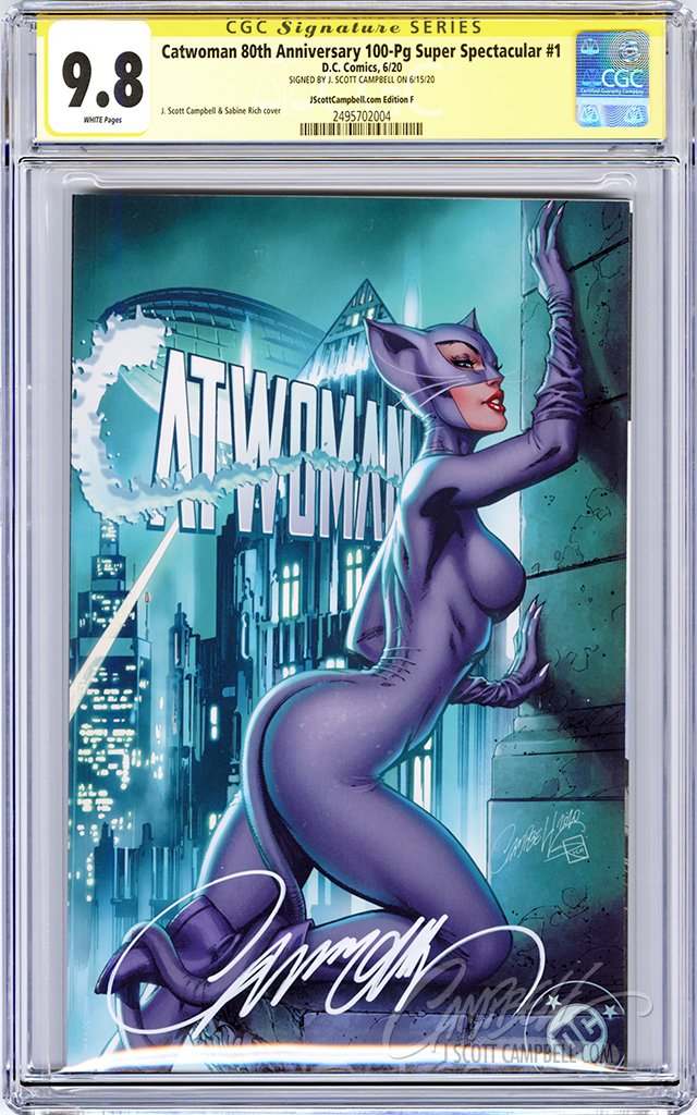"CGC 9.8 SS Catwoman 80th JSC cover F ""Year One"""