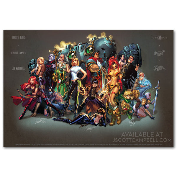 Cliffhanger Reunion Limited Edition Print: J. Scott Campbell, Joe Madureira, Humberto Ramos