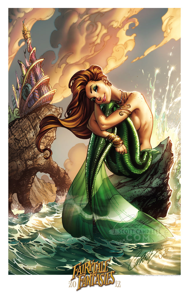 "Scott Campbell 11/"" x 17/"" THE LITTLE MERMAID 2010 ART PRINT ~ Signed by J"