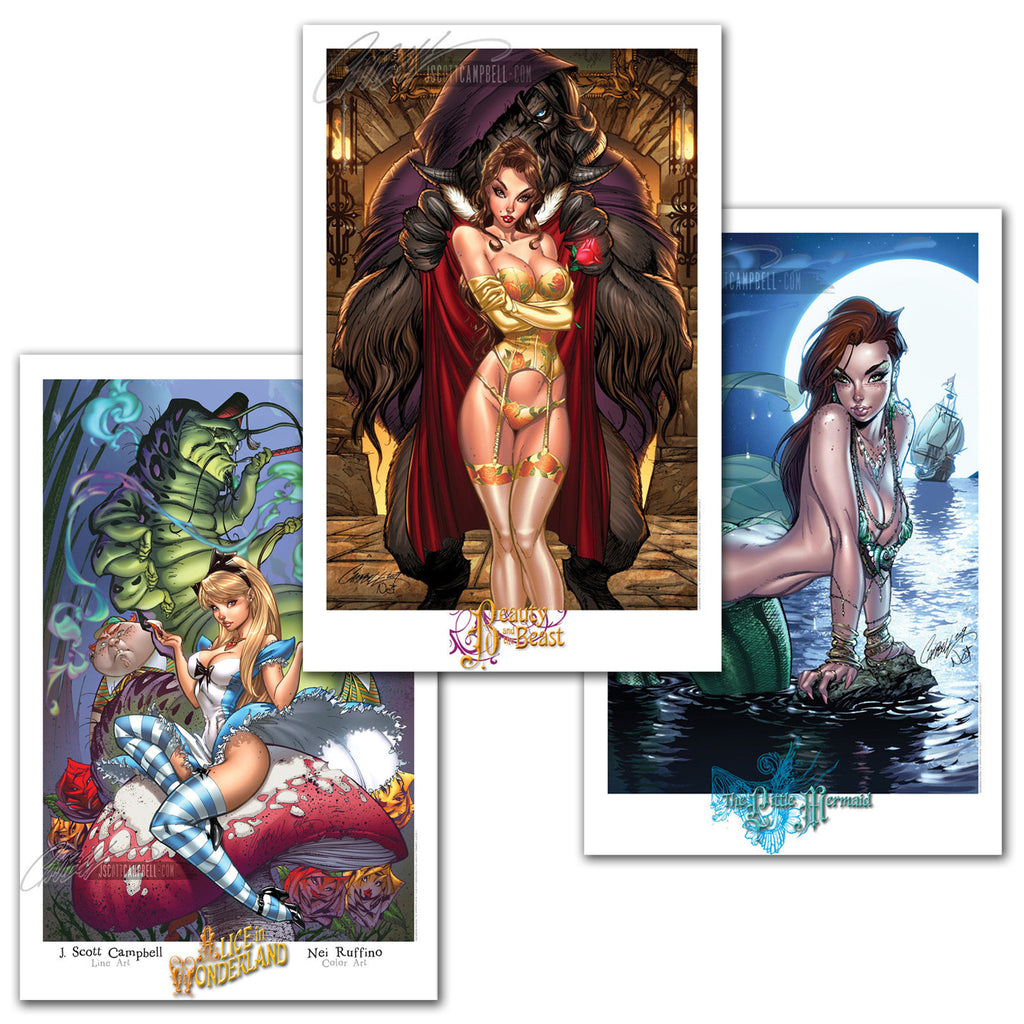 FTF FairyTale Fantasies Set of 3 Prints 11x17