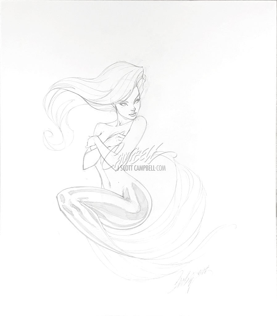 Original Art: Little Mermaid Pencils - SOLD