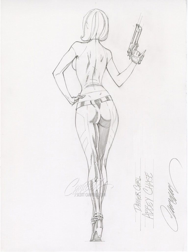Original Art: Danger Girl Sideshow Pencils 2 - SOLD