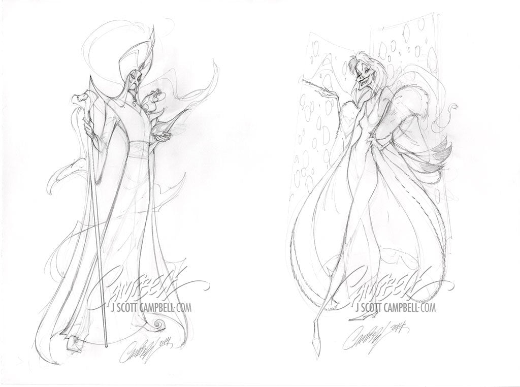 Original Art: Disney Jafar and Cruella 2014 Prelims
