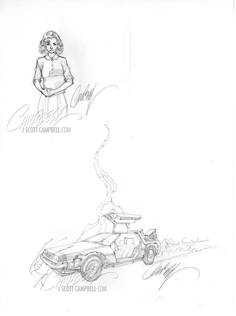 Original Art: Back to the Future #1 'Car' and Jennifer Parker Prelims - SOLD
