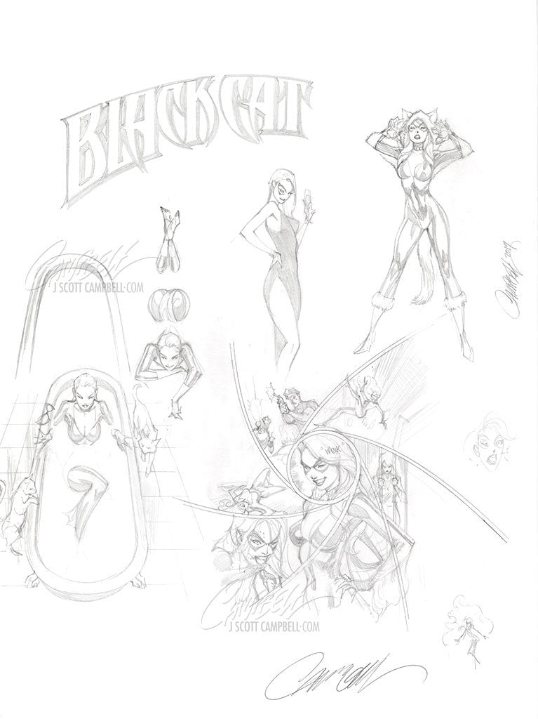 Original Art: Black Cat #1 and #5 Prelims - SOLD