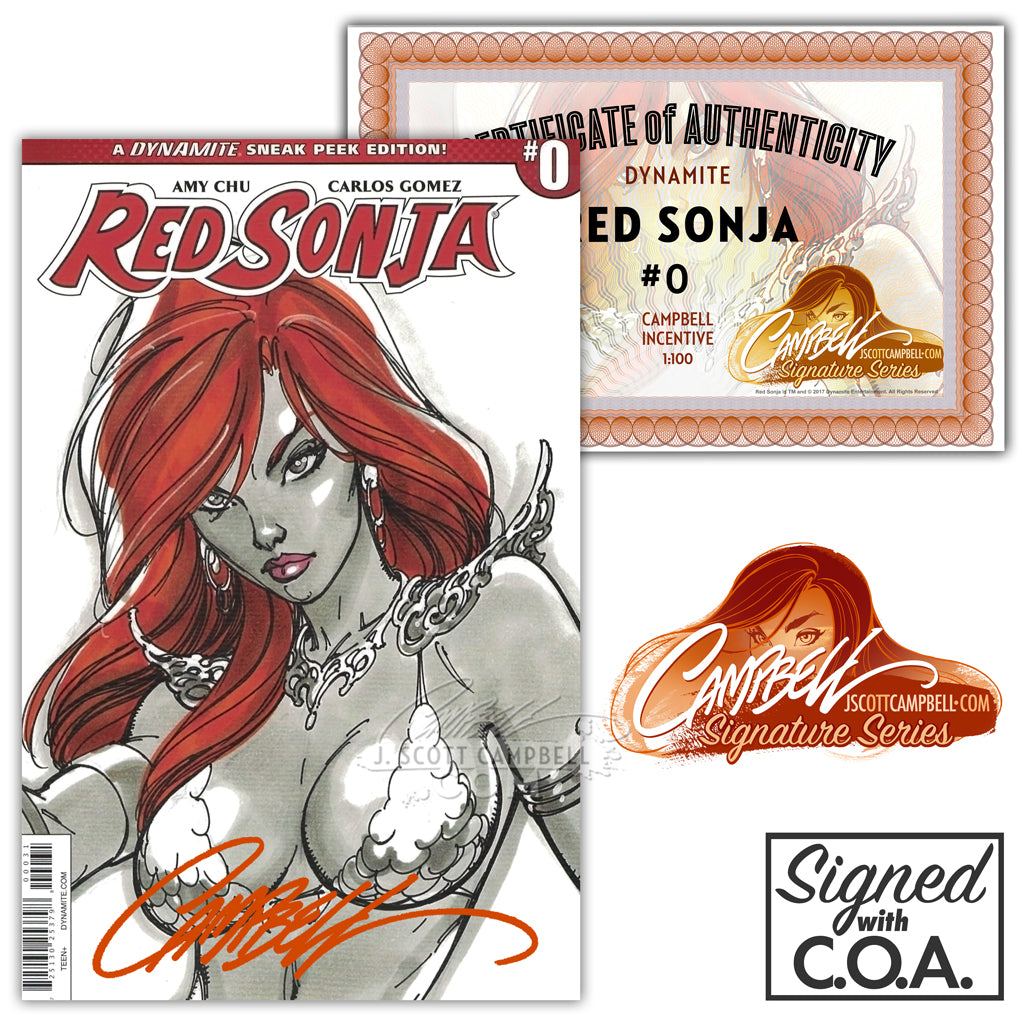 Red Sonja #0 INCENTIVE 1:100 (2016) J. Scott Campbell