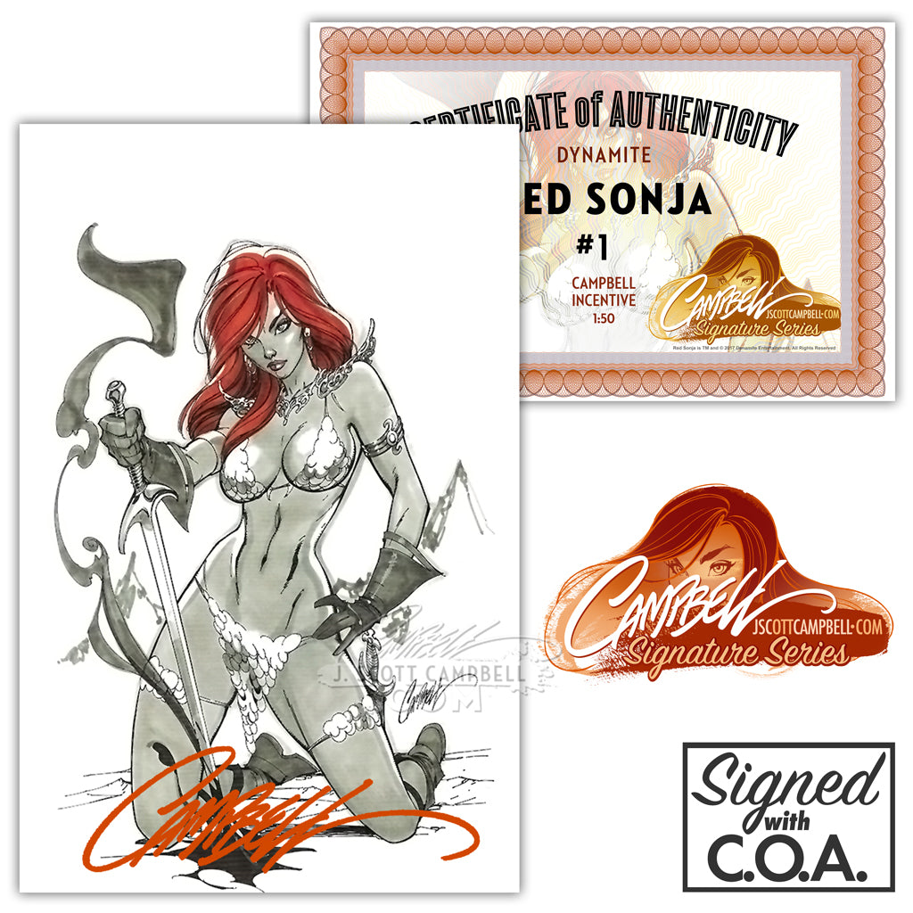 Red Sonja #1 Cover K INCENTIVE 1:50 (2017) J. Scott Campbell