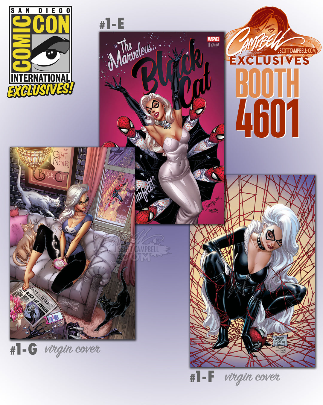 Black Cat #1 Campbell Exclusive SDCC Virgin McFarlane Homage Signed COA NM