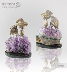 Bronze figure of Goldfish with Demantoid eyes and Amethyst on a Dolerite plate