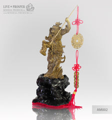 Bronze Figure of Monkey King with Prosperity Scepter - Eastern lunar Calendar on a Wooden stand