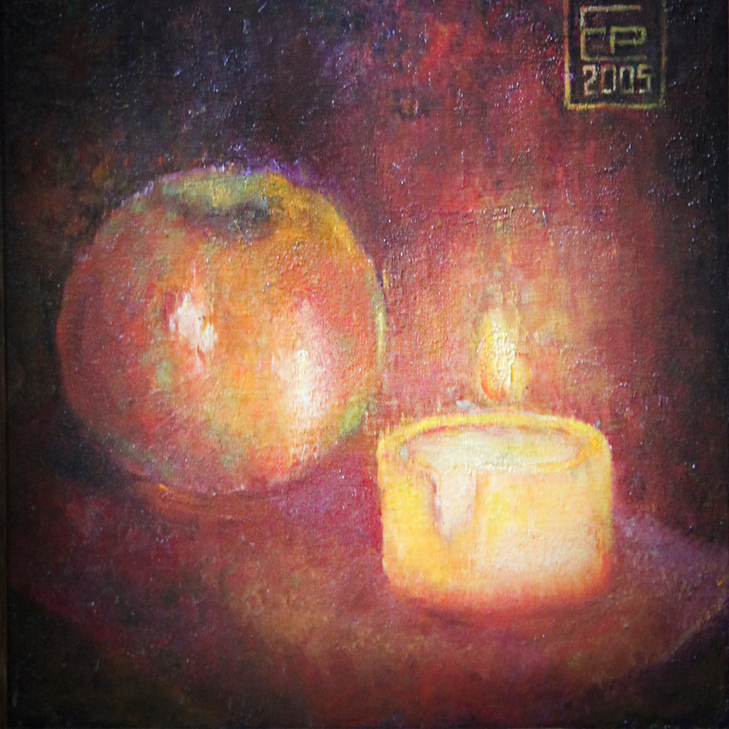 Still life Apple with candle canvas on hardboard, oil Eshurin Rostislav Натюрморт яблоко со свечой холст на оргалите, масло Ешурин Ростислав