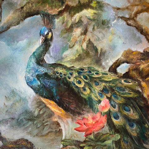 Peacock oil on canvas Eshurin Rostislav