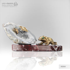 Bronze figures of Frog and Fly with Demantoid eyes on Geodes agate Amethyst druz
