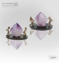 Bronze figures of two monkeys with amethyst on dolerite plate A0076