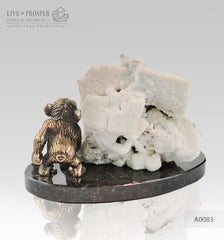 Bronze figure of Monkey on Guard with Pyrite calcite on Dolerite plate