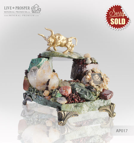Gold plated Bronze Bull on a hill made of gems and rock crystal on a marble plate