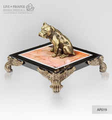 Bronze figure of a dog breed British Bulldog on jasper plate Бронзовая собака породы Английский Бульдог на панно из пейзажной яшмы