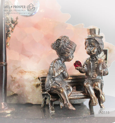 Bronze Cupid and Sweethearts on a Bench with Garnet heart