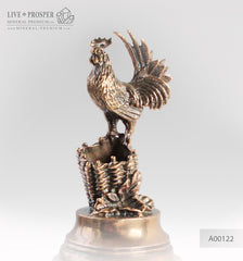 Bronze rooster figure with on marble plate penholder A00122
