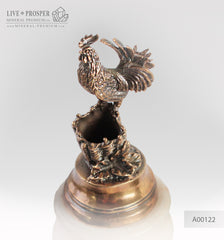 Bronze Rooster figure with on marble plate  penholder