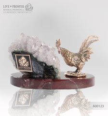 Bronze Rooster figure with amethyst geode agate druzy on marble plate