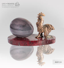 Bronze Rooster figure with a charoite age on marble plate