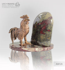 Bronze Rooster figure with a heliotrope on marble plate