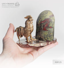 Bronze Rooster figure with a heliotrope on marble plate  Бронзовый Петух с гелиотропом на пластине из мрамора