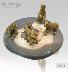Bronze Bears with Hedgehogs Figures on Agate plate - marble base