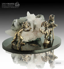 Bronze Pinocchio fairy tale Figures with Calcite on a Dolerite plate