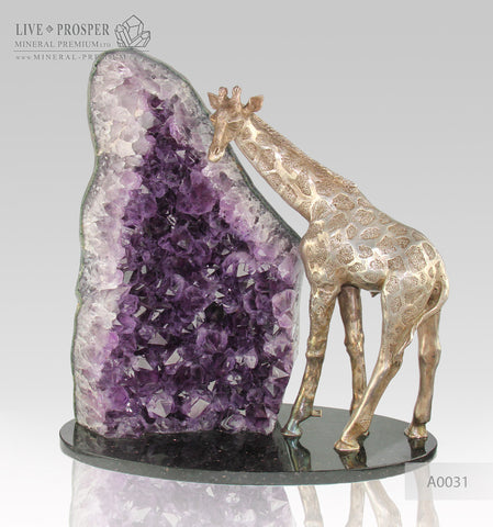 Bronze Giraffe Figure with Amethyst on Dolerite plate