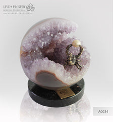Bronze figure of Scorpion at Geode agate amethyst Sphere with Sea pearl