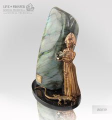 Bronze Mistress of Copper Mountain and Her Assistant  Figures with Labradorite