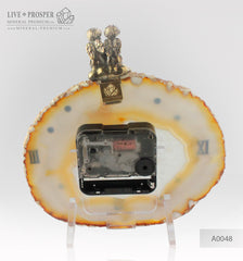 Сlock with Bronze angels Figures with Garnet heart on Agate plate