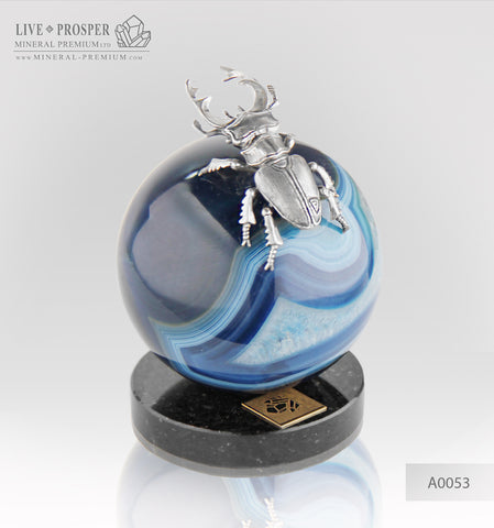 Silver Figure of Beetle deer on Agate sphere and a Dolerite plate silver 925