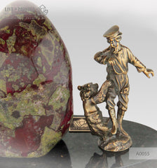 Bronze Gypsy men with Bear cub  Figures with Heliotrope on a Dolerite plate