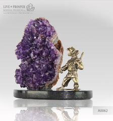 Bronze Figure of Monkey warrior with Agate amethyst geodes