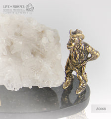 Bronze figures of Two monkeys with Quartz on Dolerite plate