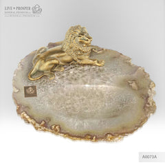 Bronze figure of lion with demantoids inserts on agate plate A0073A