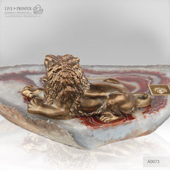 Bronze Figure of Lion with Demantoids inserts on Agate plate