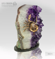 Bronze Scorpion figure with Demantoid inserts with Agate geode Amethyst
