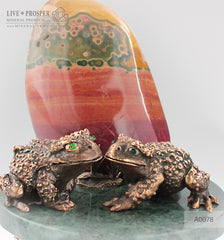 Bronze frog  couple figures  with demantoids inserts  with  jasper  on a marble plate