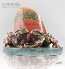 Bronze frog Couple figures with Demantoids inserts with Jasper on a Dolerite plate