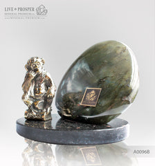 Bronze figure of Monkey Philosophy with Labradorite on Dolerite plate