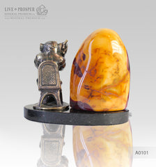 Bronze figure of Monkey philosophy with mookaite jasper on a dolerite plate A0101