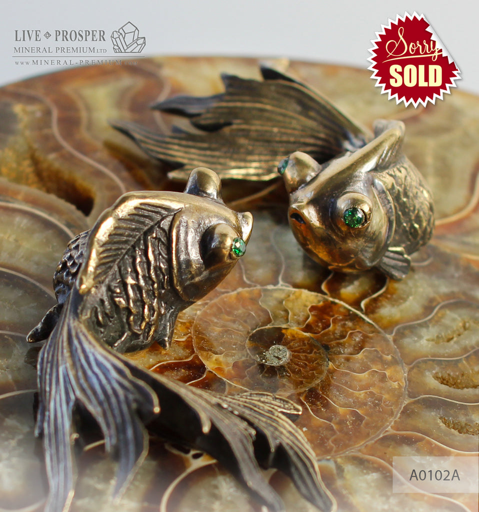 Bronze goldfish couple figures with demantoids inserts with ammonite