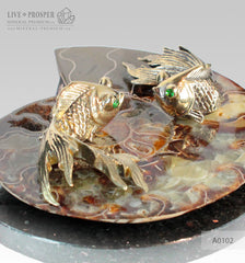 Bronze Goldfish couple figures with Demantoid inserts with Ammonite